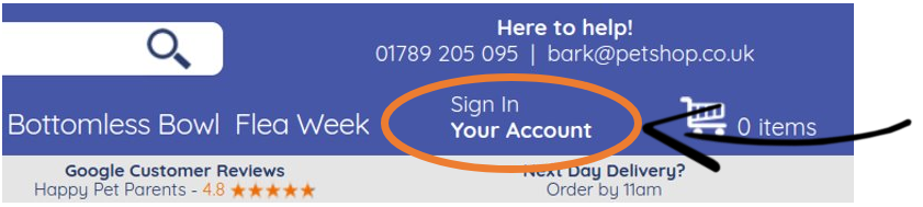 screenshot showing the sign in button at the top-right of the webpage