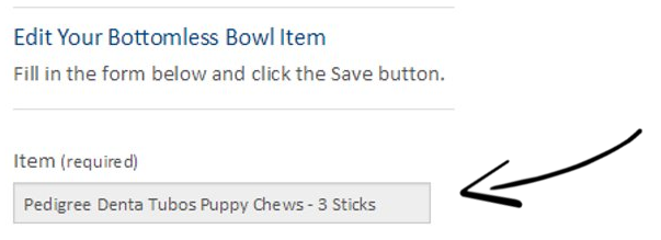 screenshot showing the editing page of the bottomless bowl item. This is the item's name
